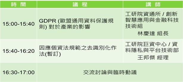 09/19 遵循GDPR及國內個資法之AI產業因應作法交流會
