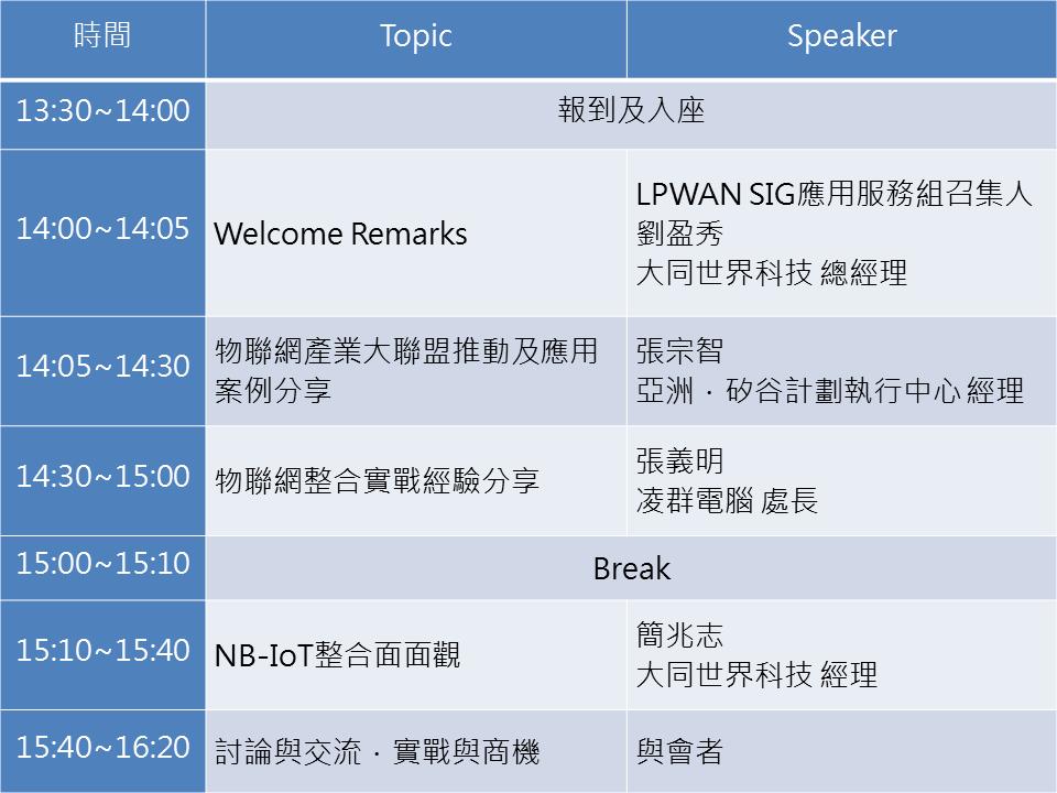 11/7 LPWAN SIG 應用Workshop-物聯網整合實戰交流