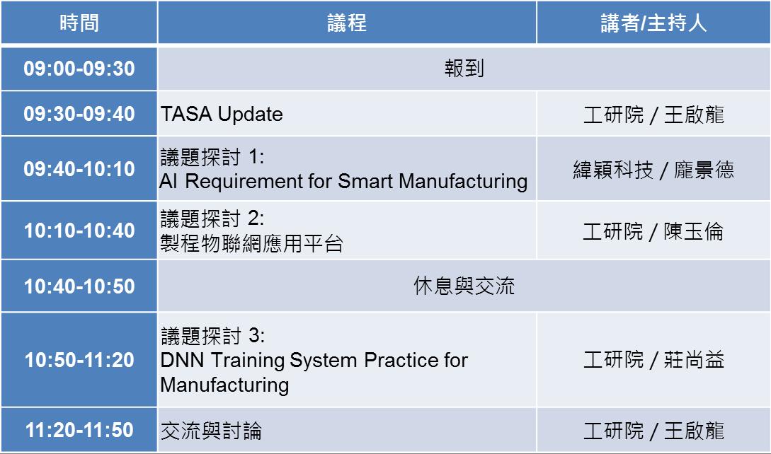 台灣AI系統聯盟(TASA)「AI-智慧製造分享交流會」暨第三次工作會議,歡迎報名參加!