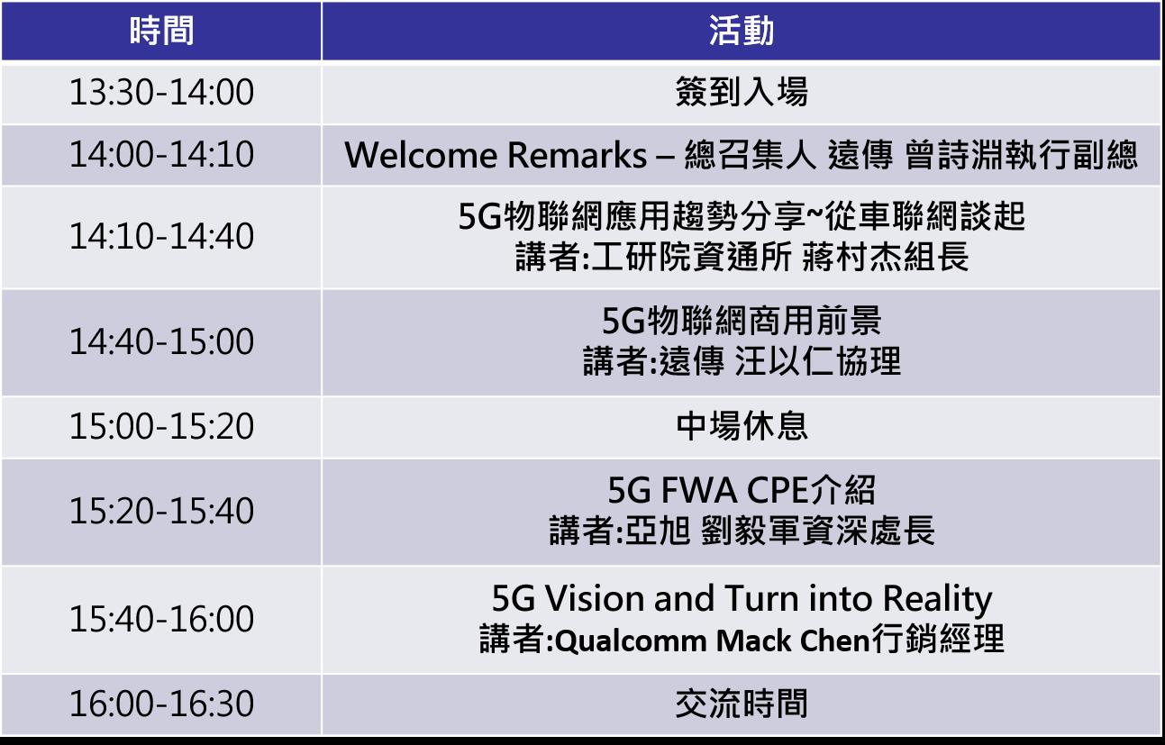 5/23 LPWAN物聯網SIG研討會-迎接5G商轉  前瞻5G物聯網應用與商機